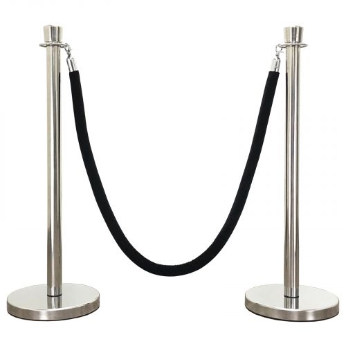 60 Black Braided VIP Crowd Control Mirror Taper Top Decorative Rope Safety Queue Stanchion Barrier with Domed Base in 3 pcs Set